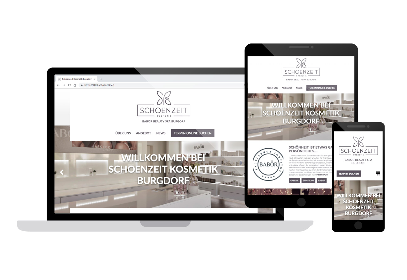 Schoenzeit Kosmetik Neue Responsive Website, Design by Gregory Anthony Zagkos, www.greg.design